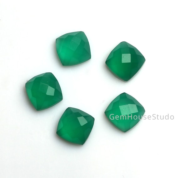 Green Chalcedony Gemstone Cabochon Wholesale Price Loose Gemstone Cab Gems 5 Pieces Green Onyx Cabochons 38.50 Grams Green Onyx Gemstone