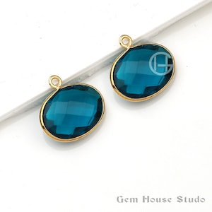 12mm Round Shape Micron Gold Plated Best selling Copper Oyster Turquoise Gemstone Bezel Charms Pendant Copper Oyster Bezel Charm 1 Piece