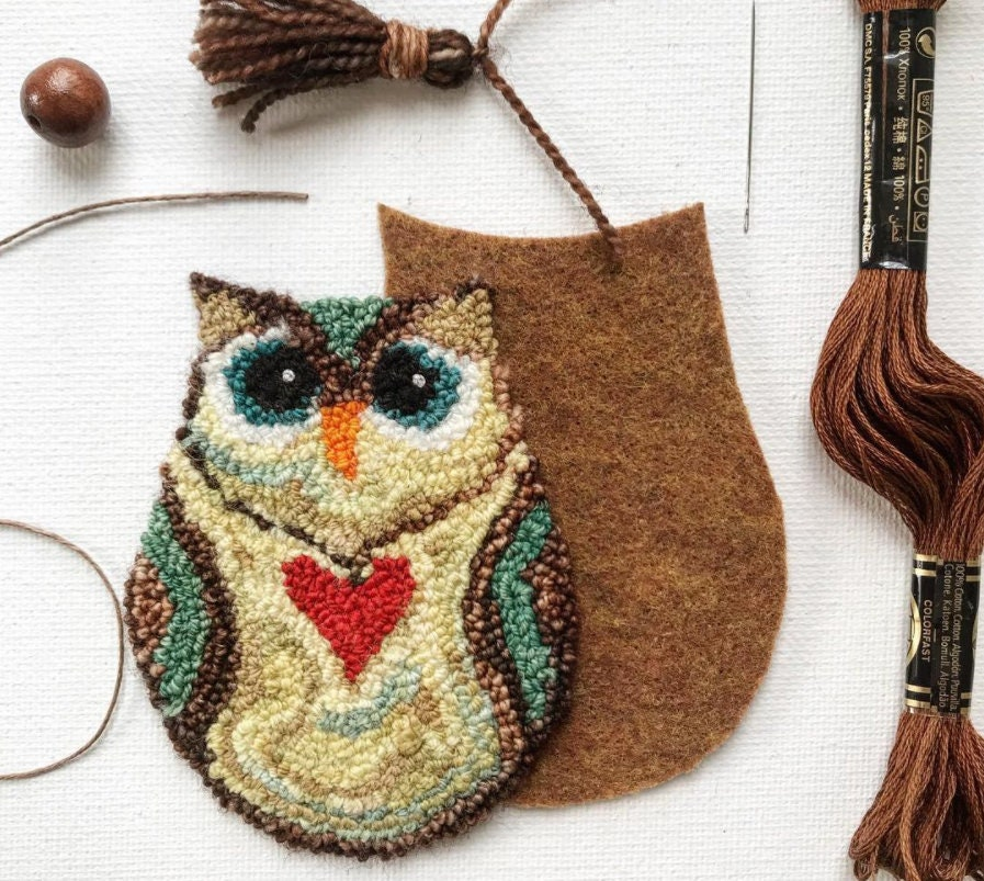 Little Owl Pdf Digital Punch Needle Embroidery Pattern Karla Etsy