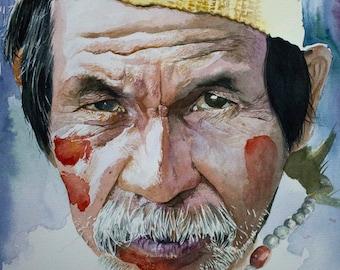 Chief - Brazilian indian Watercolor portrait - Gliceé print available.