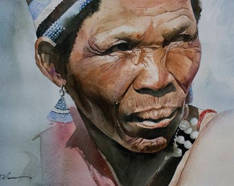 Botswana - African Watercolor portrait painting. Gliceé print available.