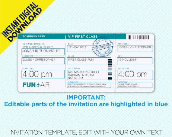 Airplane Boarding Pass Party Invitation With Free Envelope Instant Digital Download Edit Yourself Printable Design