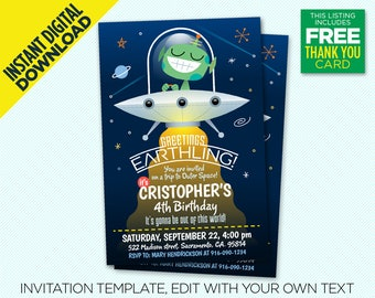 Greetings Earthling! Birthday Party Invitations, Space Alien Party, UFO Invite - Instant Digital Download, Edit Yourself, Printable Design