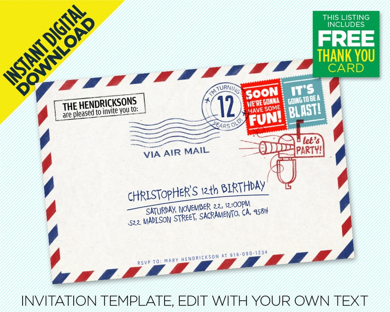 AirMail Birthday Party Invitation Includes Thank You Postcard