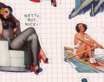 Classy Pin-up Ladies Dames Stickers Girls Pretty Pin Up Retro