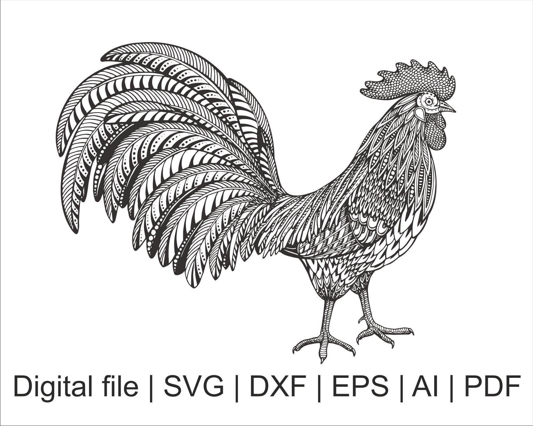 195+ Rooster Mandala Svg Free – SVG,PNG,DXF,EPS include