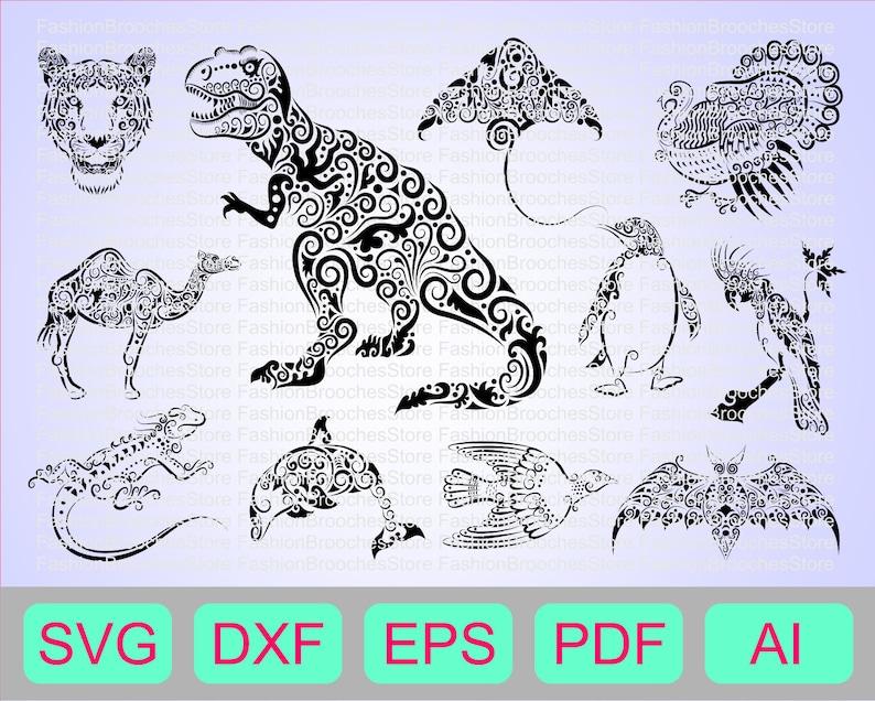 Dino svg Zentangle svg Trex silhouette Tiger svg Dinosaur svg T-rex svg Mandala svg Penguin svg, Animal mandala Trex svg