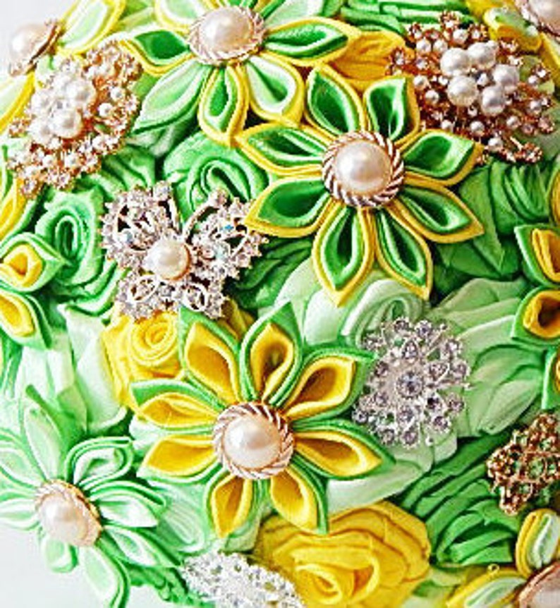 green yellow brooch bouquet wedding bouquet yellow bouquet broach bouquet keepsake bouquet silk bouquet brides accessories  Bridal bouquet