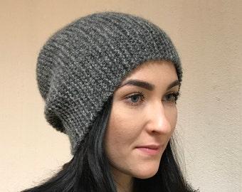 5fce9a6b0aa Gray woman winter slouchy beanie hat