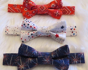 Independence Day Baby Bow Ties, baby boy, seasonal, accessories, 4th of July, patriotic, red white and blue, Fourth of July