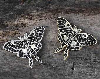 LUNA | silver or gold | witchy moth goth moon hard enamel pin