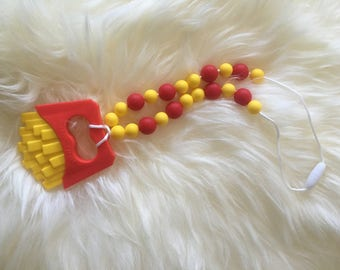 French fry teething chewlery necklace