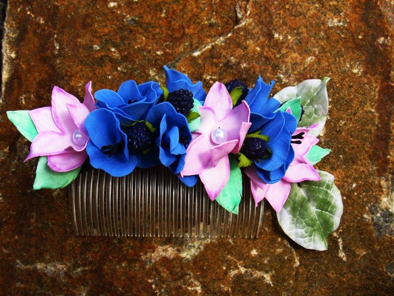 blackberry hairpiece summer hair accessory floral hair comb rustic floral headpiece blue hair comb pink hair comb berries hair comb