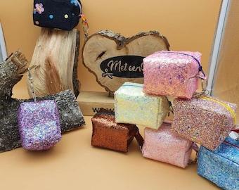 Mini Case, Keychain, Boxy Mama, Glitter, Purses, Bag,