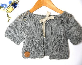 grey merino wool cardigan, superwash