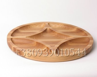 Wooden Serving Platter / Barbecue Plate Dish / Natural Wood Snack Tray