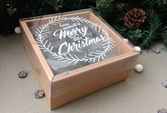 Christmas Box Box With Transparent Lid Present Box Kraft Etsy