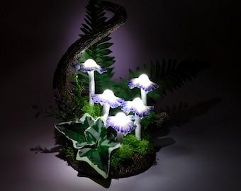 MADE TO ORDER - Mushroom Lamp lamp consisting of five white mushrooms lights