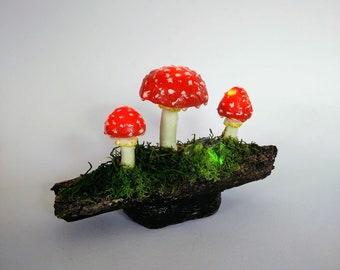 Fliegenpilz, Lampe, Pilzlampe, Dekoration, Nachtlicht, Unikat, Handgemacht, Fantasie