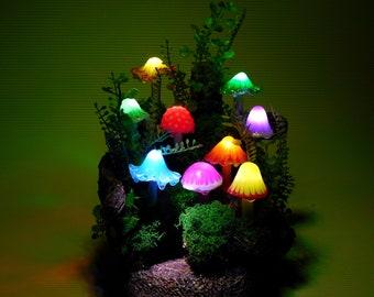 Mushroom lamp consisting of nine luminous mushrooms in different shapes and colors