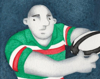 A Limited Edition Leicester Tigers Rugby Ball Pass Fine Art Print - From an Original Watercolour Painting by Paul Hainsworth (Size: 10x20cm)