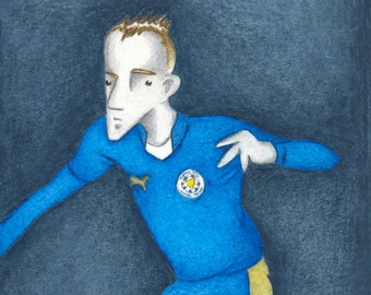 Jamie Vardy - A Limited Edition Leicester City Football Fine Art Print, from an Original Watercolour Painting by Paul Hainsworth (10x20cm)