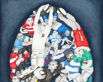 World Cup Rugby - A Limited Edition Rugby Fine Art Print, from an Original Watercolour Painting by Paul Hainsworth (Size: 16x24cm)