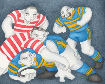 A Limited Edition Competive Rugby Match Fine Art Print - From an Original Watercolour Painting by Paul Hainsworth (Size: 20x25cm)