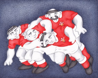 A Limited Edition Wales Rugby Team Scrum Fine Art Print - From an Original Watercolour Painting by Paul Hainsworth (Size: 15x20cm)