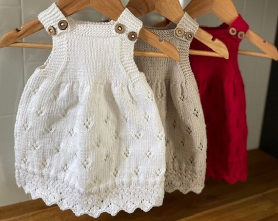 0-3 Months Cotton Dress, hand knitted, baby spring dress, baby summer dress, baby,shower