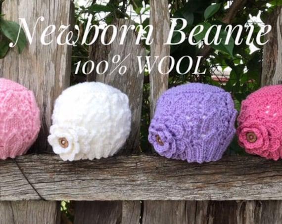 Baby Newborn Beanie With crochet flower 100% WOOL 30-36cm