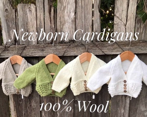 Cardigan, Newborn, Hand Knitted 100% Wool, Unisex Baby Clothes