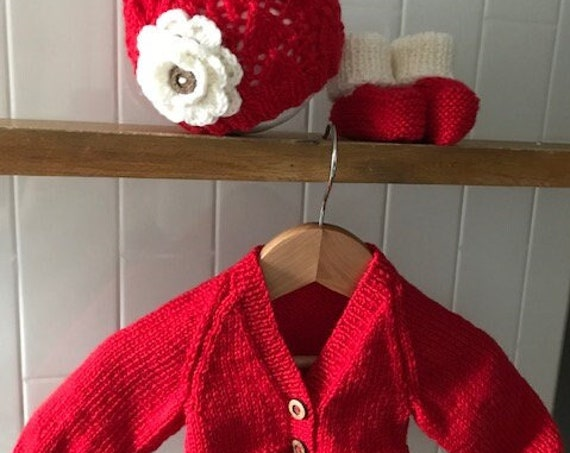 NEWBORN 3pce Set Hand Knitted with flower beanie 100% WOOL, Coming Home Outfit, Baby Girl, Baby knit Cardigan, Baby Booties,Baby Shower Gift