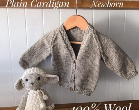 Cardigan, Newborn, Hand Knitted 100% Wool, Classic, Unisex Baby Clothes, Boy Cardigan, Girl Cardigan, Baby Gift, Baby Shower