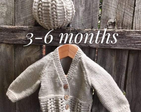 BABY SET 3-6 Months Beanie & Cardigan 100% WOOL