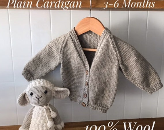BABY CARDIGAN 3-6 Months 100% WOOL,Plain, Hand knitted,Boy Cardigan, Girl Cardigan, Unisex baby knitted clothes