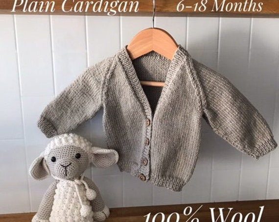 BABY CARDIGAN 6-18 Months 100% WOOL, Classic, Hand knitted,Boy Cardigan, Girl Cardigan, Unisex baby knitted clothes