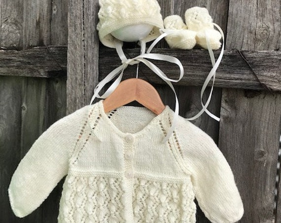 NEWBORN - 3 MONTHS 3pce Set Hand Knitted  100% WOOL, Bonnet, Matinee Jacket, Booties, Baby Clothes, Christening, Baby Shower