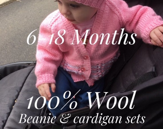 Beanie & Cardigan SET 6-18 Months 100% WOOL, Hand Knitted, Baby Clothes
