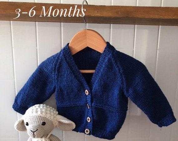 BABY CARDIGAN 3-6 Months 100% WOOL, Hand knitted,Boy Cardigan, Girl Cardigan, Unisex baby knitted clothes, 2 Rows Garter Stitch