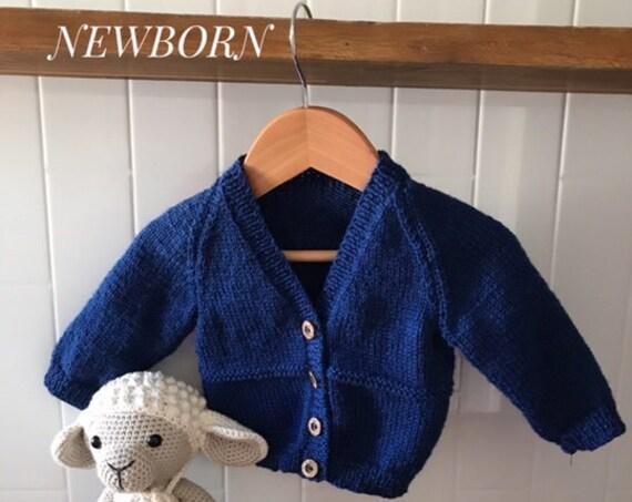 Cardigan, Newborn, Hand Knitted 100% Wool, Unisex Baby Clothes, Boy Cardigan, Girl Cardigan, Baby Gift, Baby Shower, 2 rows garter stitch