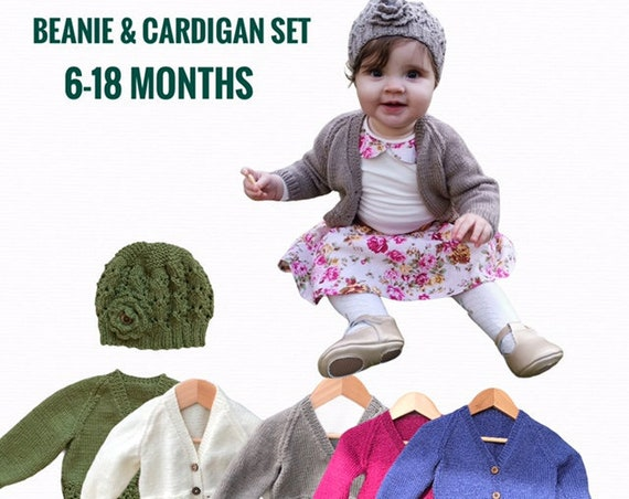Beanie & Cardigan SET 6-18 Months 100% WOOL, Hand Knitted, Baby Clothes, Xmas present, first birthday, first Christmas, baby knit clothes