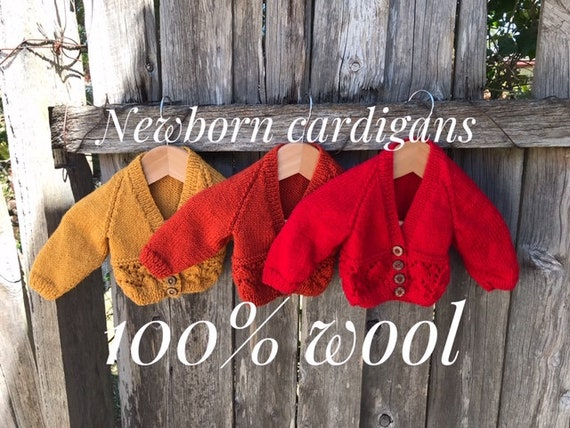Cardigan, Newborn, Hand Knitted 100% Wool, Baby Clothes