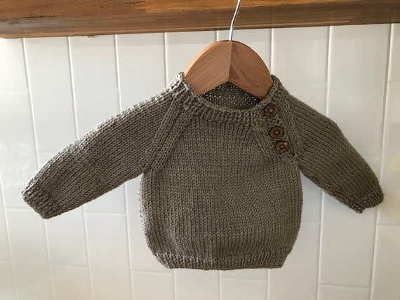Jumper, 12-18 months, Hand Knitted 100% Wool, Plain,Unisex Baby Clothes, Boy Cardigan, Girl Cardigan, Baby Gift, Baby Shower