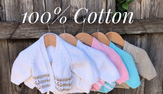 Cardigan, 0-3 months, Hand Knitted 100% Cotton