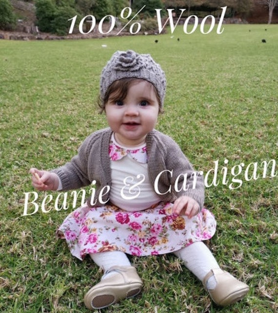 BABY SET 3-6 Months Cardigan and Beanie (With Crochet Flower) 100% WOOL, Hand knitted, Baby Clothes