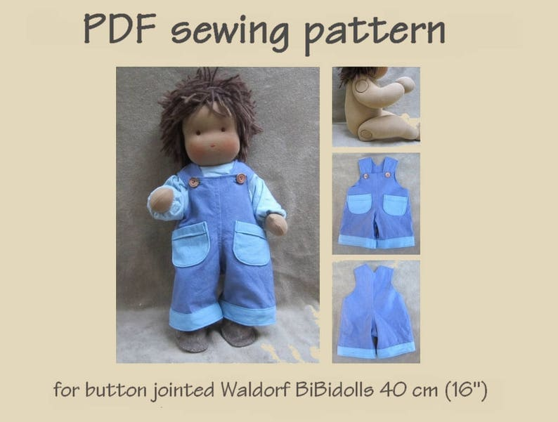 digitaal pdf patroon. tuinbroek voor waldorf scharnier pop 40 | etsy