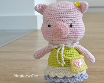 Crochet Cotton Pig Etsy