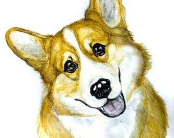 Corgi custom portrait - original pet portrait - watercolor painting - watersoluble pencil - portrait from photo - custom cat portrait - dog