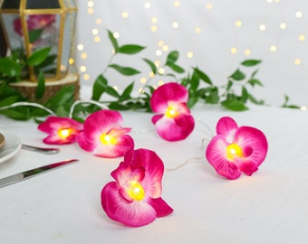 Pink Orchid Fairy Lights Indoor Battery Power Japanese Blossom Wedding Bedroom Summer Party Decoration Centerpiece Event Timer